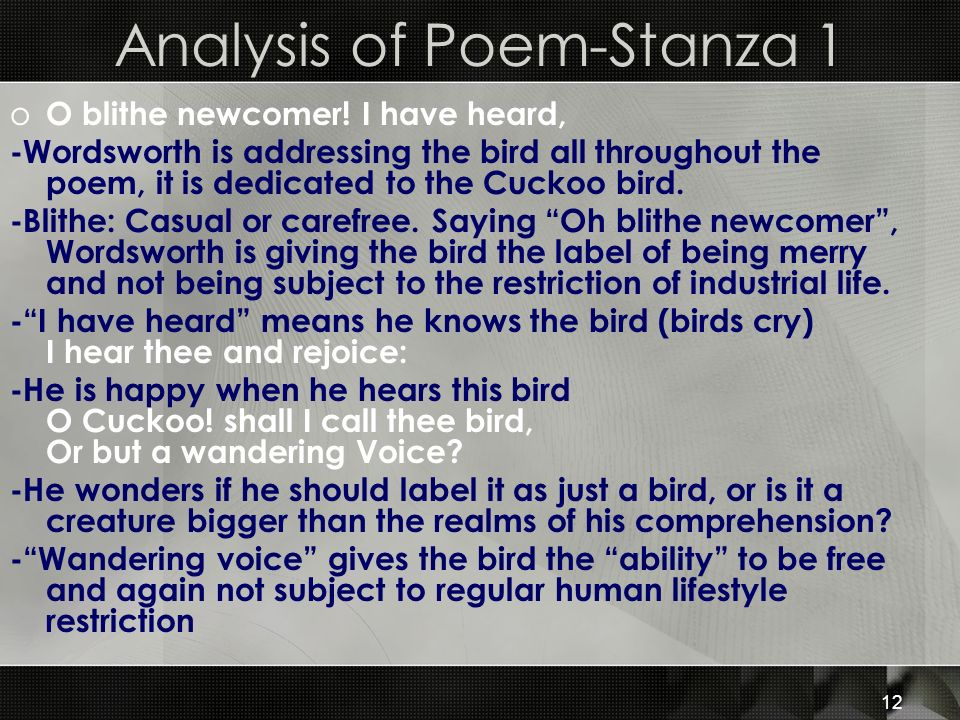 Analysis of Poem-Stanza 1