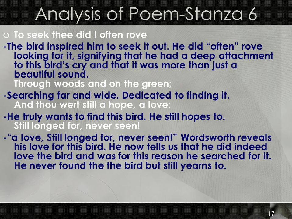 analyzing stanzas in poems Only two stanzas, it shows the conflicting attitudes toward the monthly payment of rent the first stanza shows her working, living well, and paying rent without difficulty in the second stanza, the narrator is out of work and unable to pay the rent.