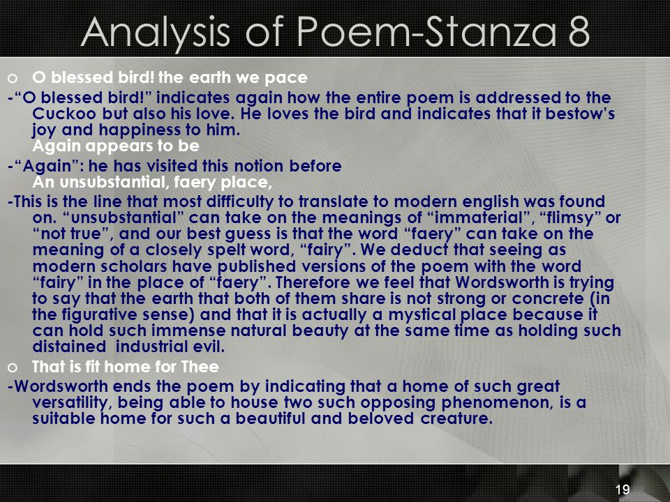 Analysis of Poem-Stanza 8
