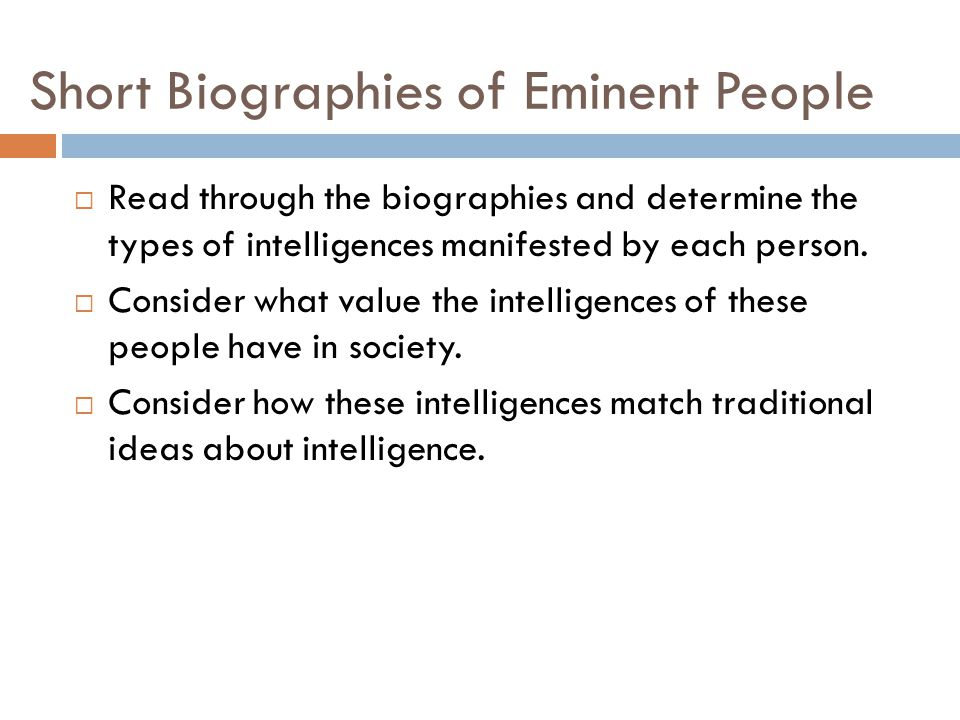 Short Biographies of Eminent People