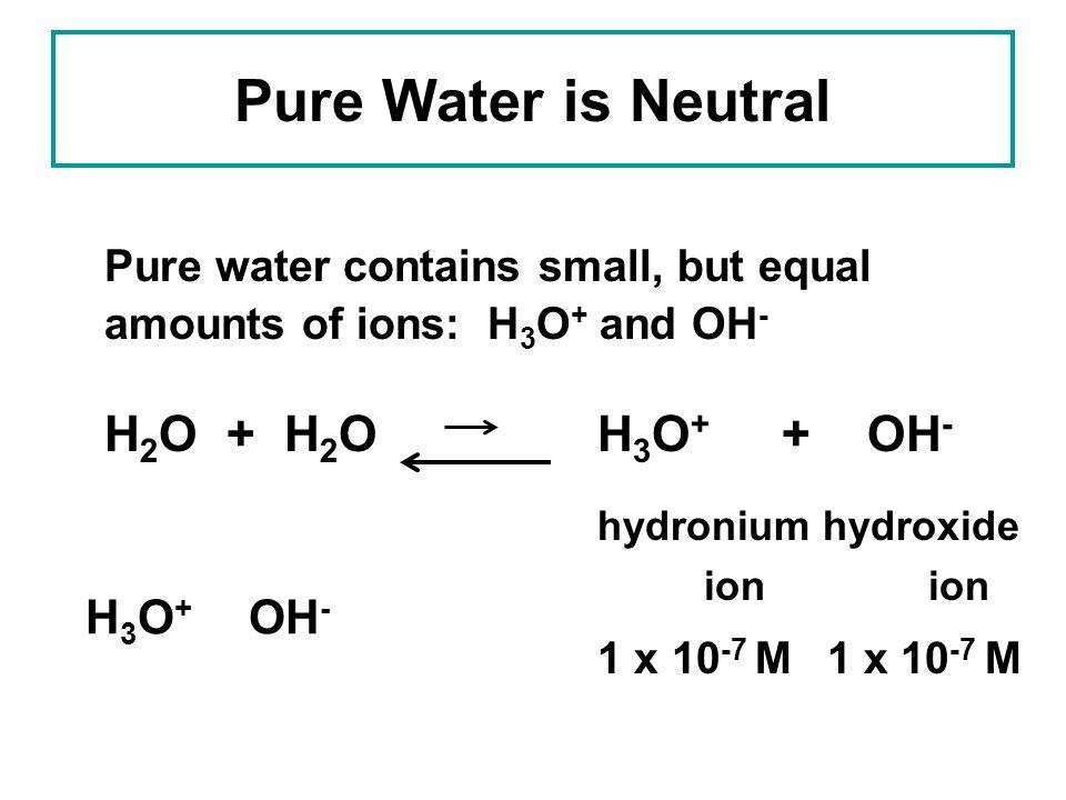 Pure Water is Neutral H2O + H2O H3O+ + OH- H3O+ OH-