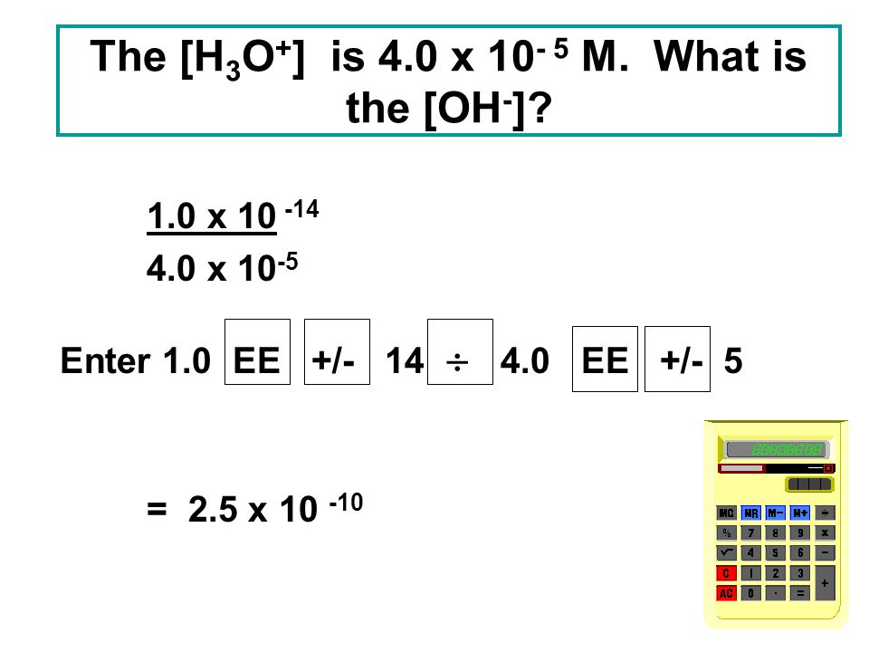 The [H3O+] is 4.0 x M. What is the [OH-]