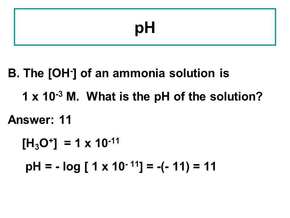 pH B. The [OH-] of an ammonia solution is
