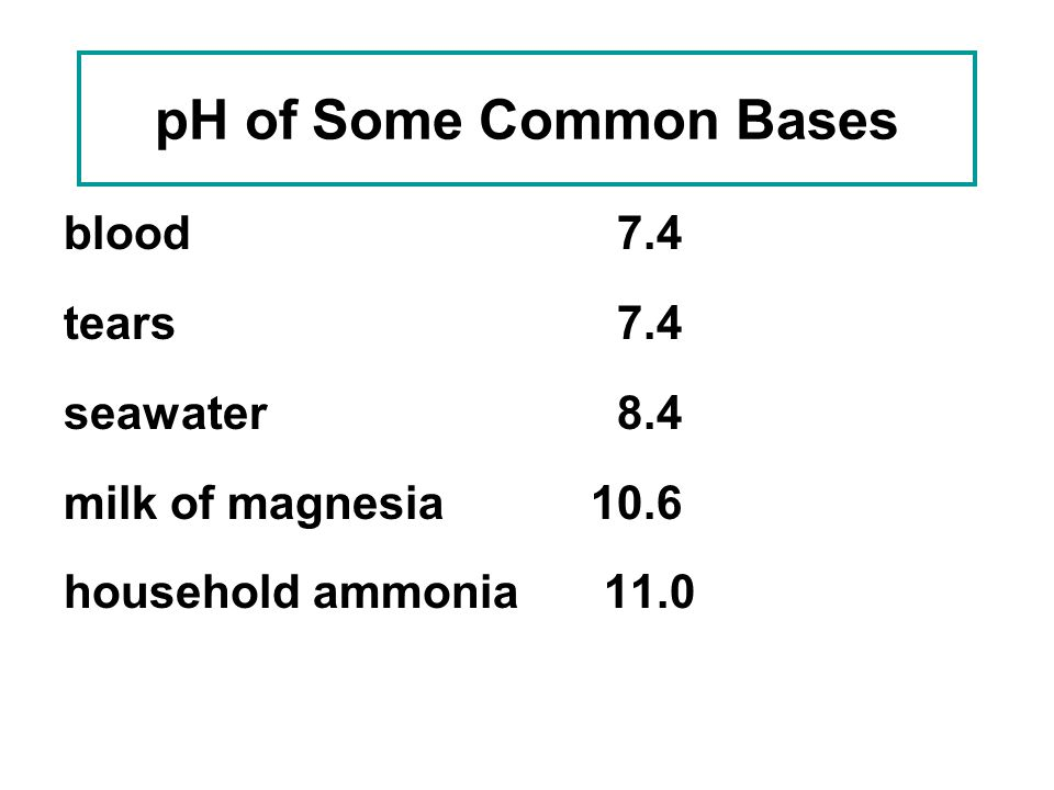 pH of Some Common Bases blood 7.4 tears 7.4 seawater 8.4
