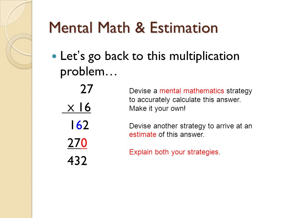 Mental Math & Estimation