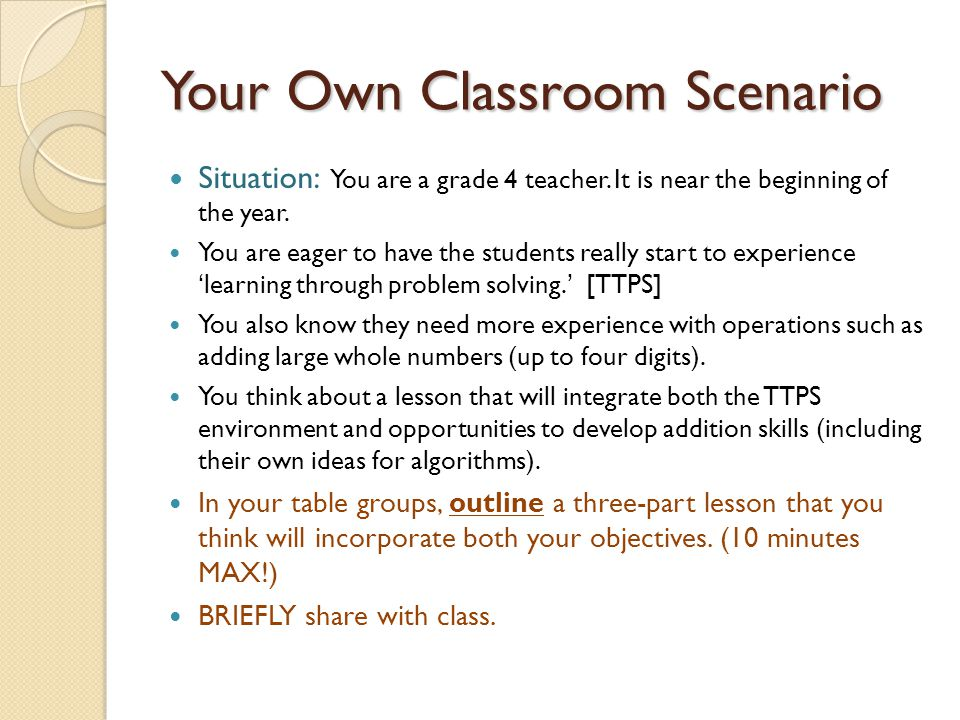 Your Own Classroom Scenario