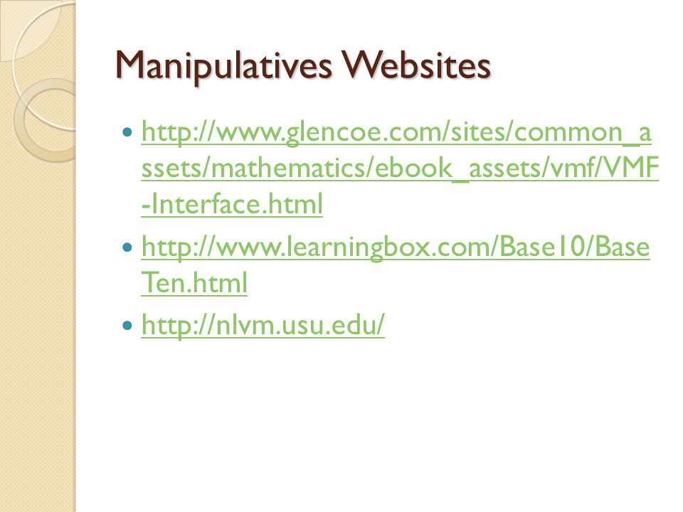 Manipulatives Websites