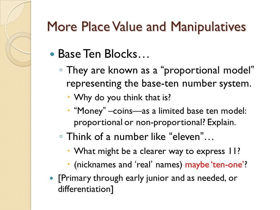 More Place Value and Manipulatives