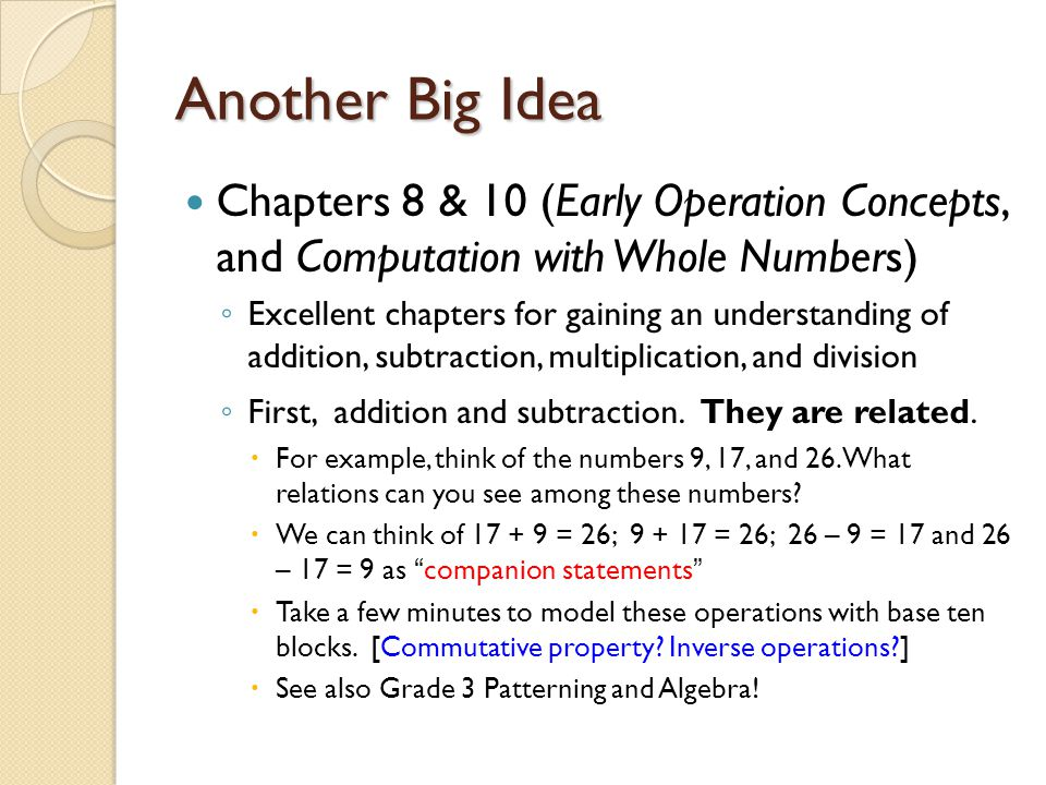 Another Big Idea Chapters 8 & 10 (Early Operation Concepts, and Computation with Whole Numbers)