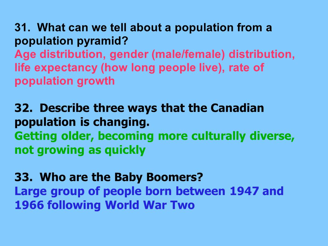 31. What can we tell about a population from a population pyramid