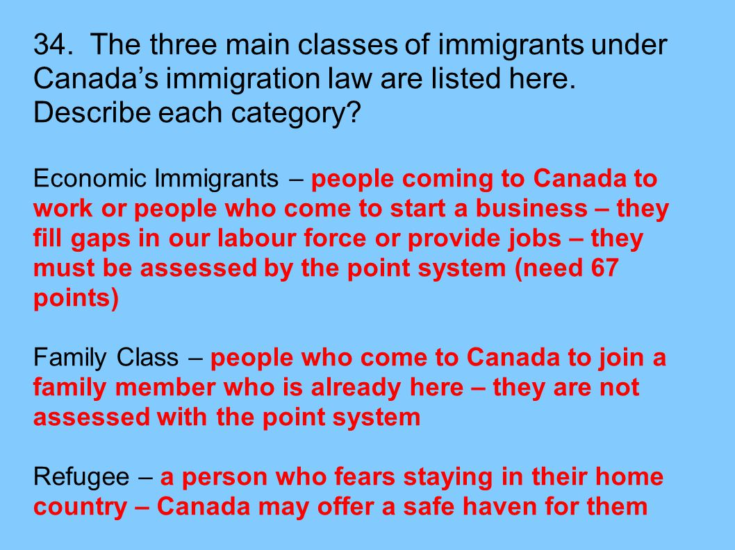 34. The three main classes of immigrants under Canada's immigration law are listed here. Describe each category