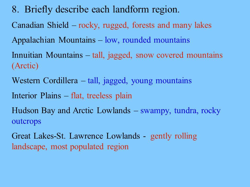 8. Briefly describe each landform region.