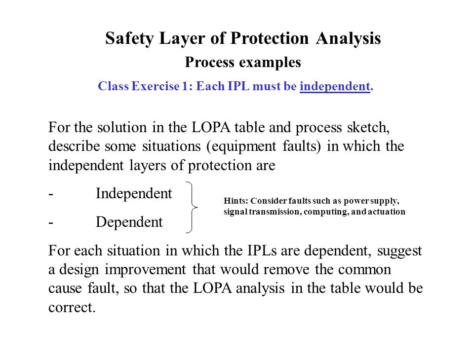 Safety Layer of Protection Analysis