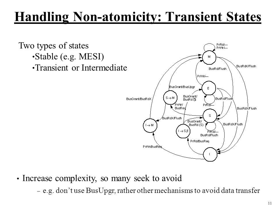 Handling Non-atomicity: Transient States