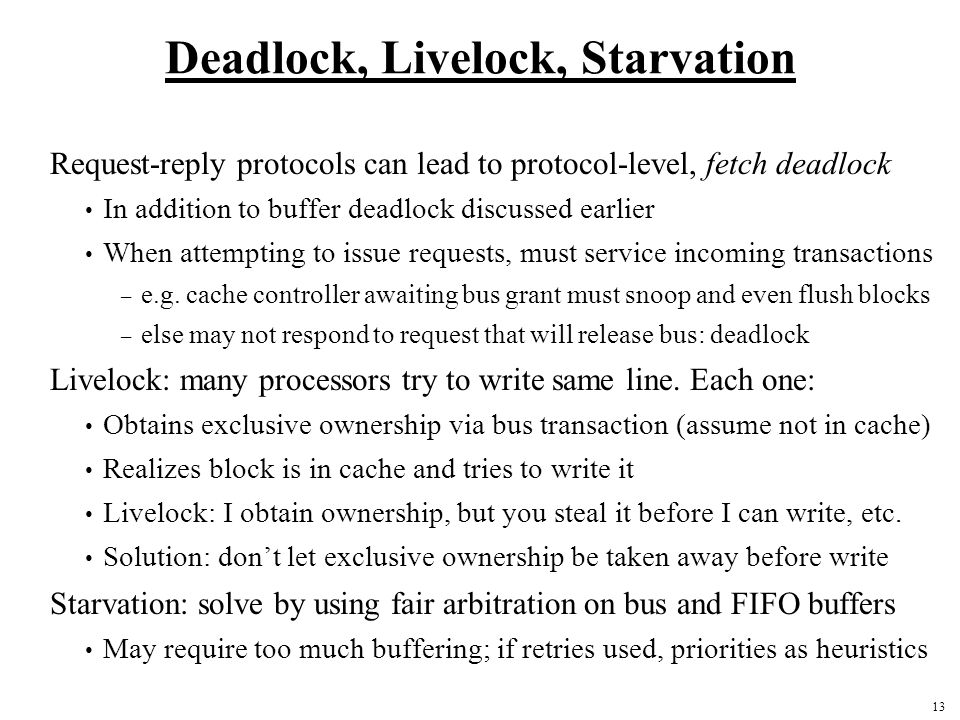 Deadlock, Livelock, Starvation