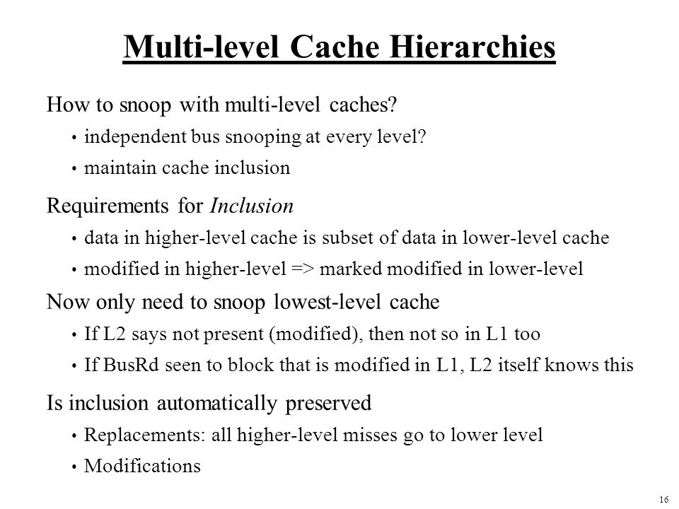 Multi-level Cache Hierarchies