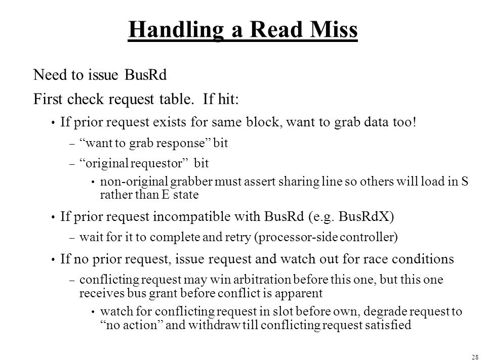 Handling a Read Miss Need to issue BusRd