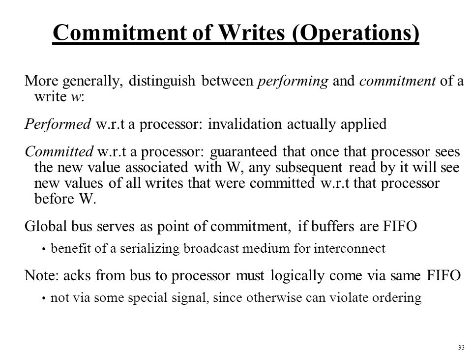 Commitment of Writes (Operations)