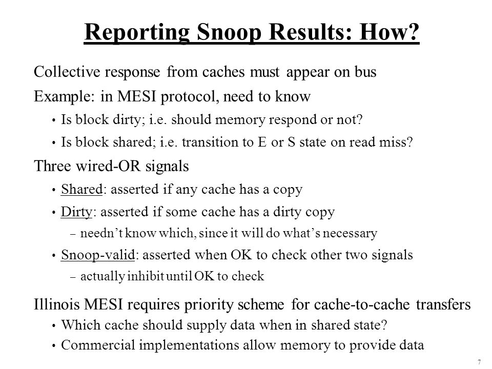 Reporting Snoop Results: How
