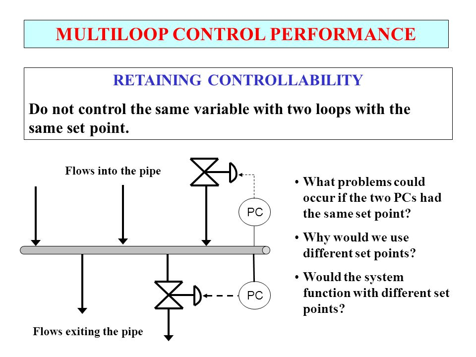 MULTILOOP CONTROL PERFORMANCE RETAINING CONTROLLABILITY