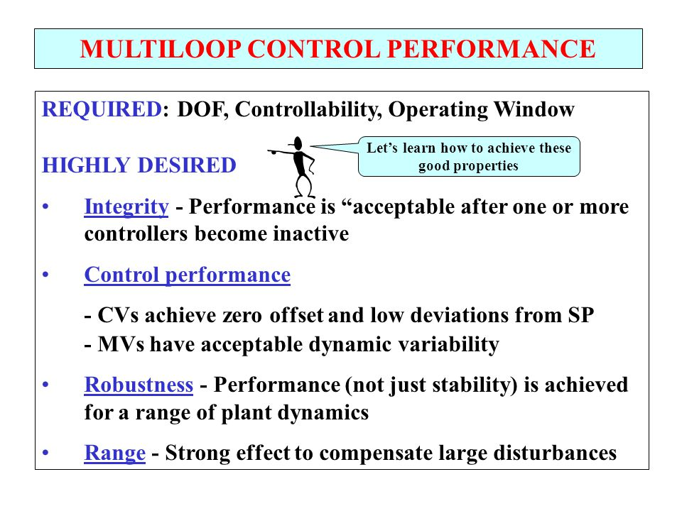 MULTILOOP CONTROL PERFORMANCE Let's learn how to achieve these