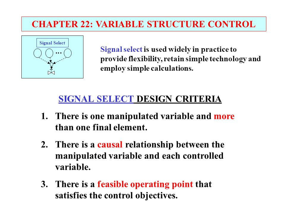 CHAPTER 22: VARIABLE STRUCTURE CONTROL SIGNAL SELECT DESIGN CRITERIA