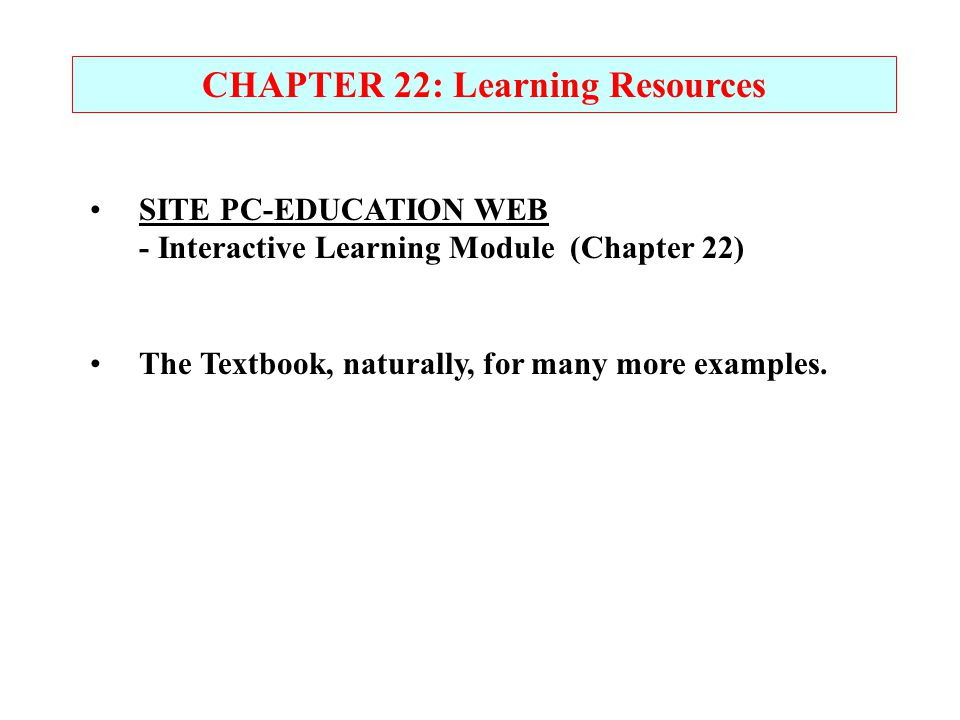 CHAPTER 22: Learning Resources