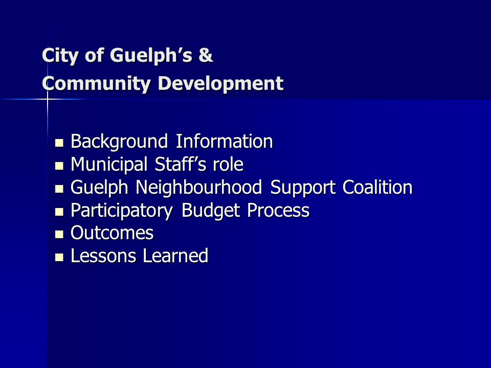 City of Guelph's & Community Development