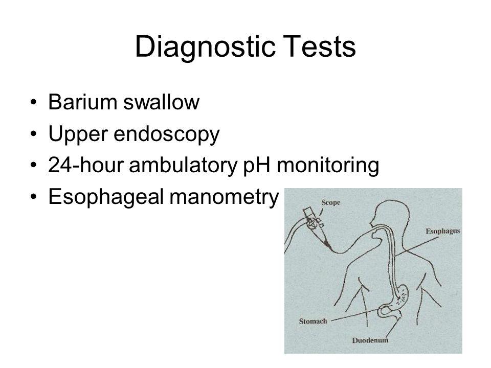 Diagnostic Tests Barium swallow Upper endoscopy