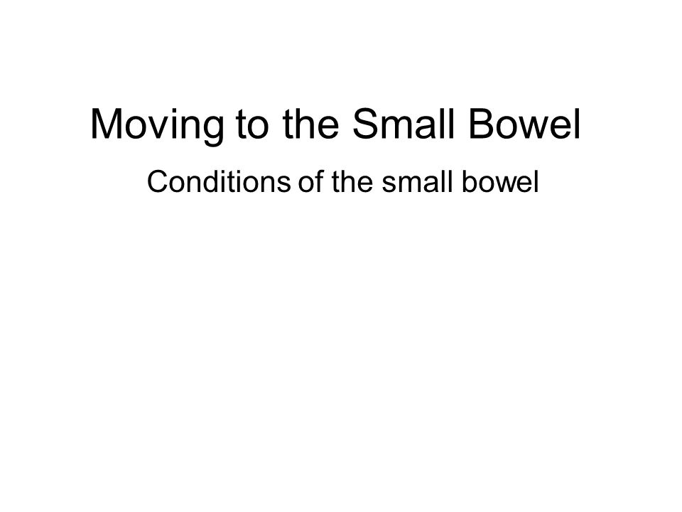 Moving to the Small Bowel