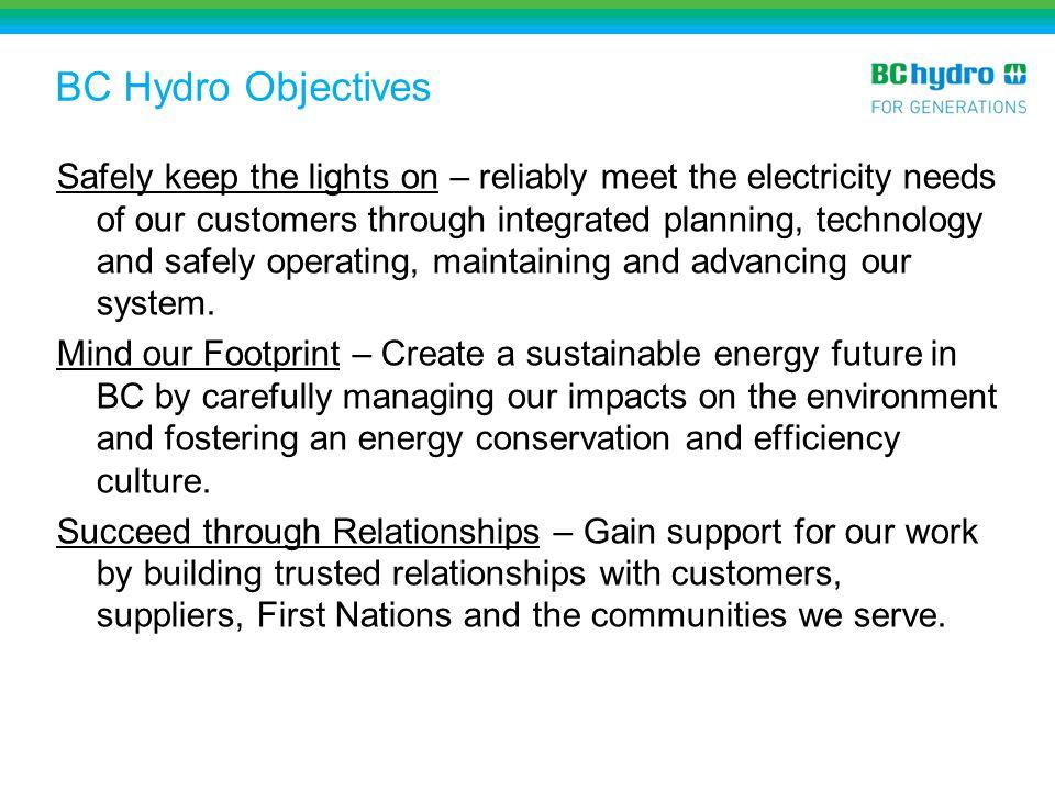 BC Hydro Objectives