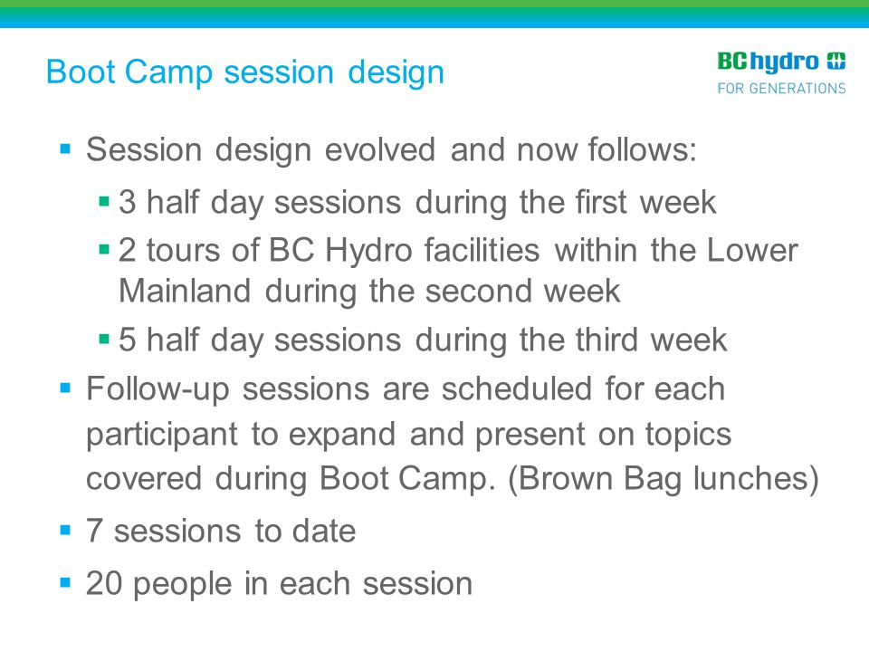 Boot Camp session design