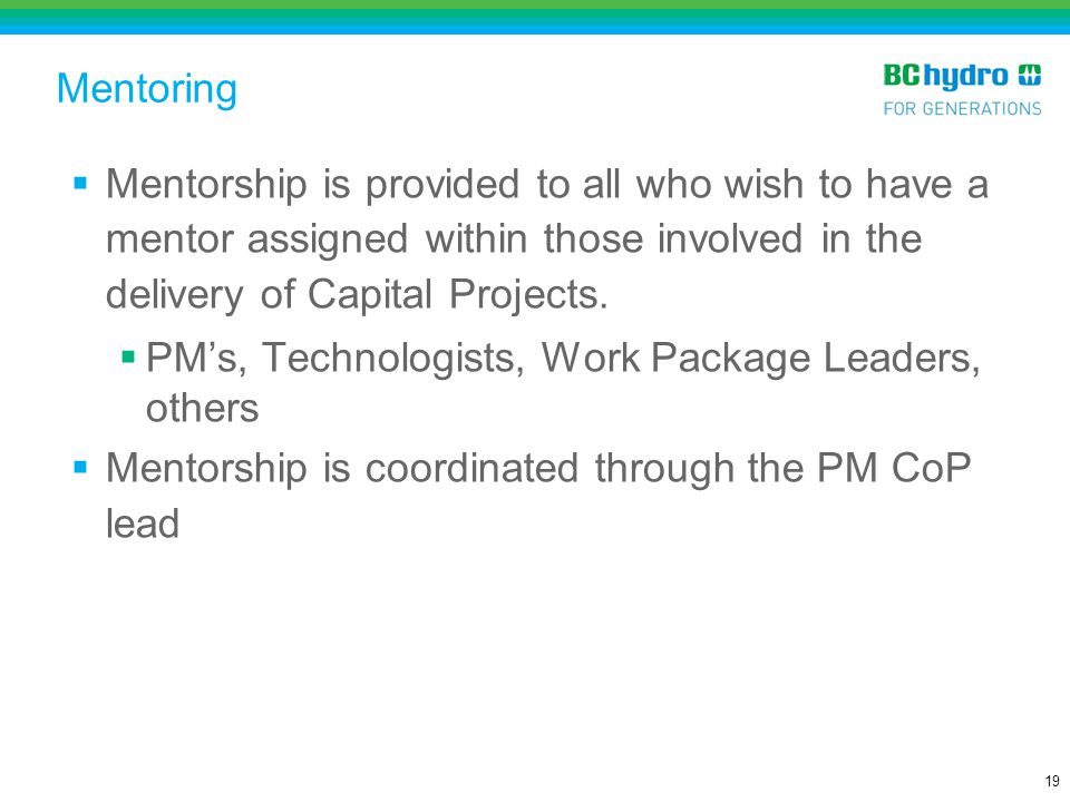 Mentoring Mentorship is provided to all who wish to have a mentor assigned within those involved in the delivery of Capital Projects.