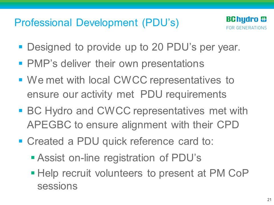 Professional Development (PDU's)
