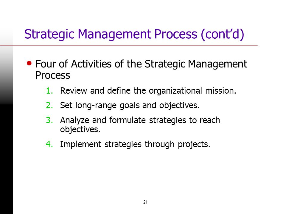 Strategic Management Process (cont'd)