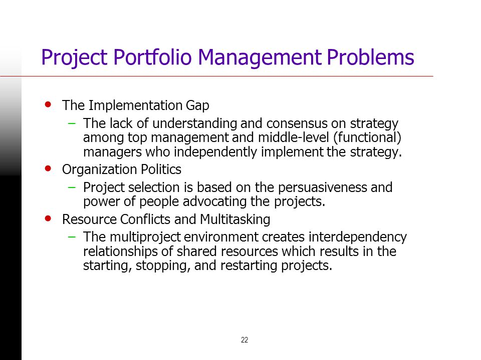 Project Portfolio Management Problems