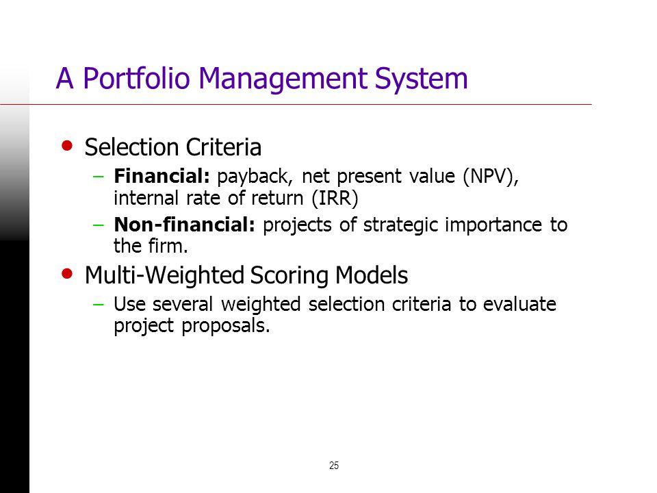 A Portfolio Management System