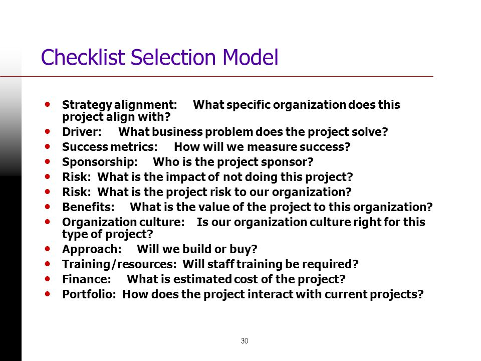 Checklist Selection Model