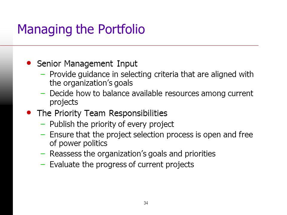 Managing the Portfolio