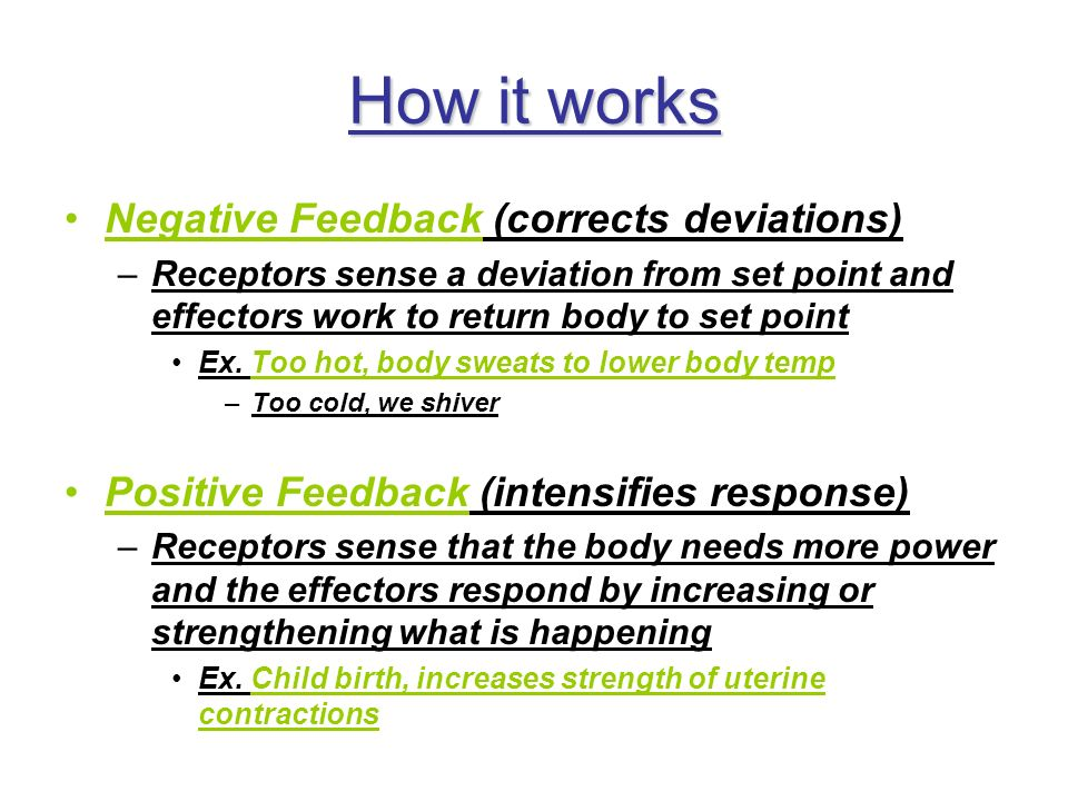 How it works Negative Feedback (corrects deviations)