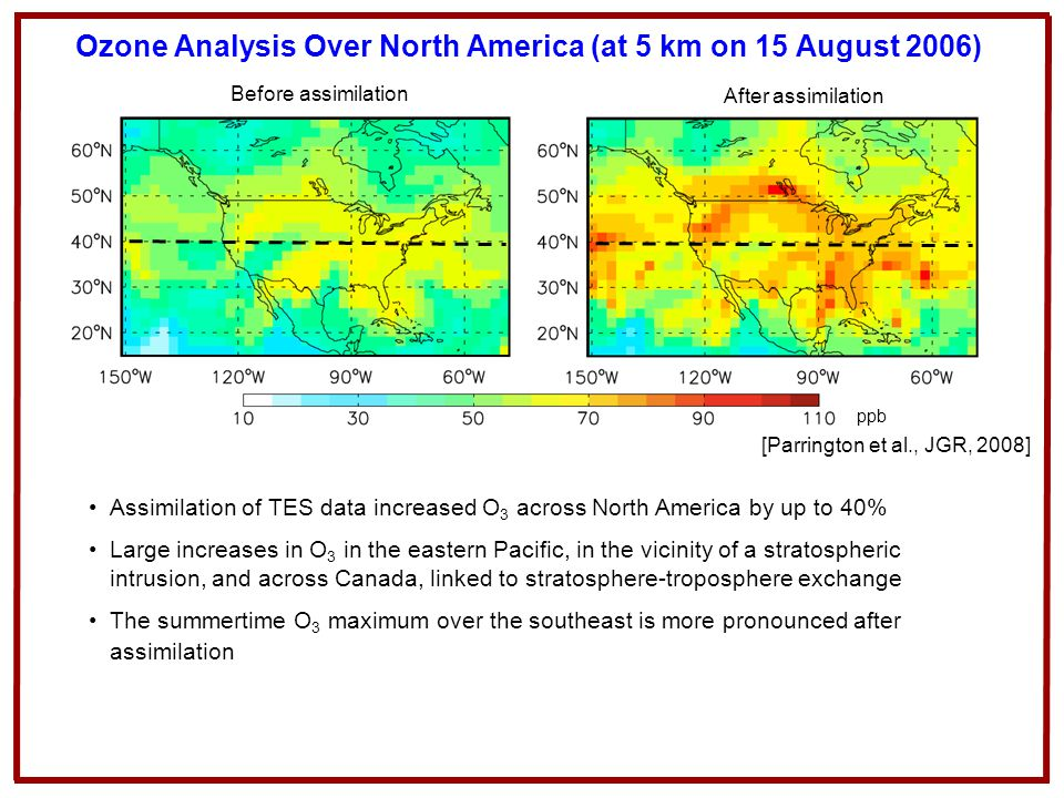 Ozone Analysis Over North America (at 5 km on 15 August 2006)