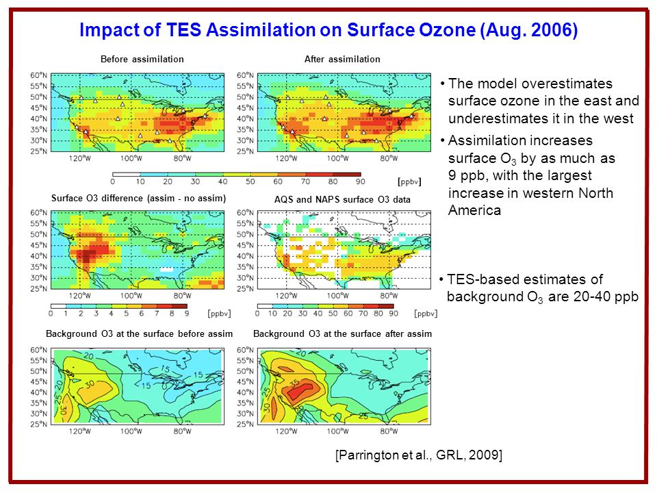 Impact of TES Assimilation on Surface Ozone (Aug. 2006)