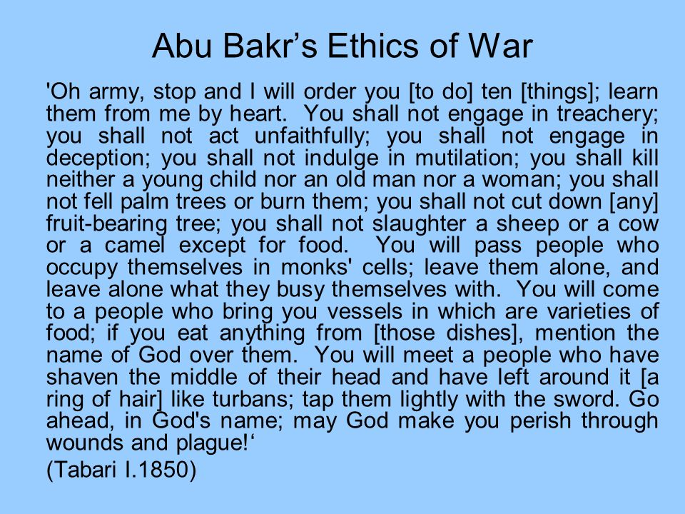 Abu Bakr's Ethics of War