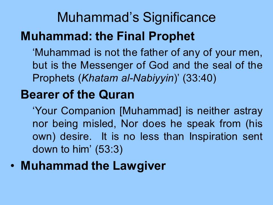 Muhammad's Significance