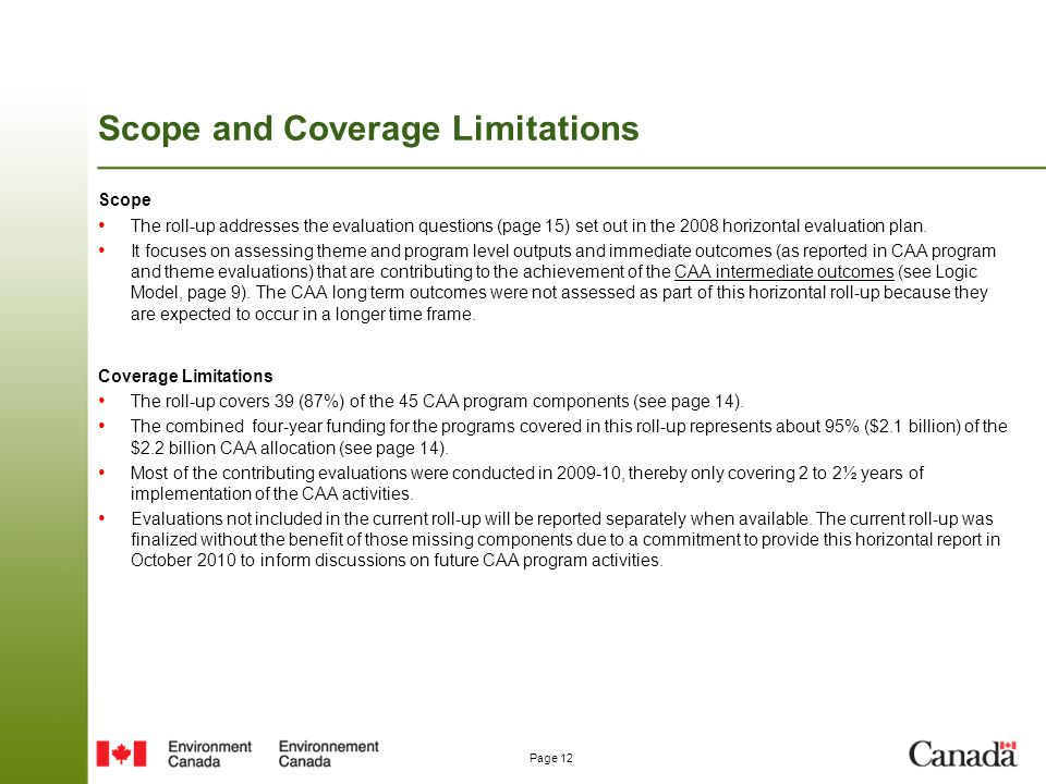 Scope and Coverage Limitations