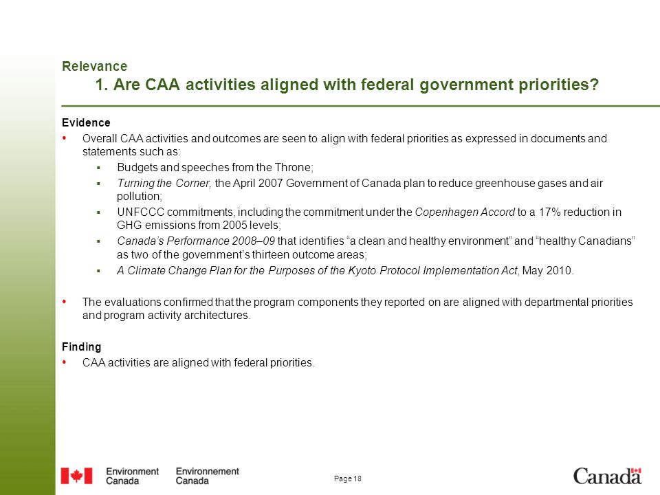 Relevance 1. Are CAA activities aligned with federal government priorities