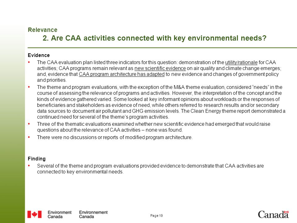 Relevance 2. Are CAA activities connected with key environmental needs