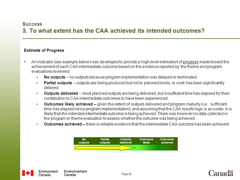 Success 3. To what extent has the CAA achieved its intended outcomes
