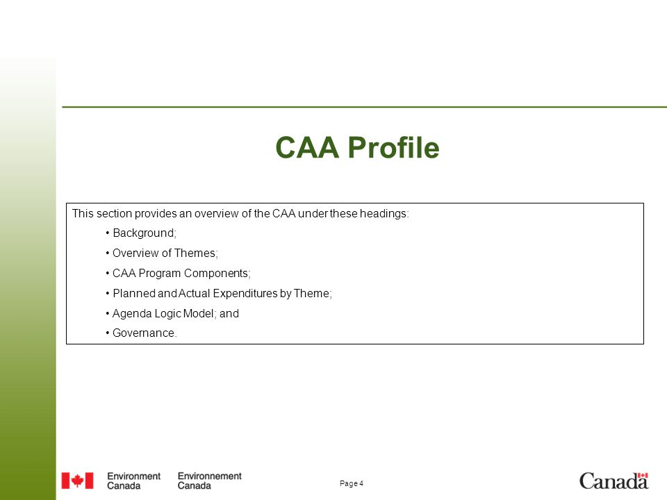CAA Profile This section provides an overview of the CAA under these headings: Background; Overview of Themes;