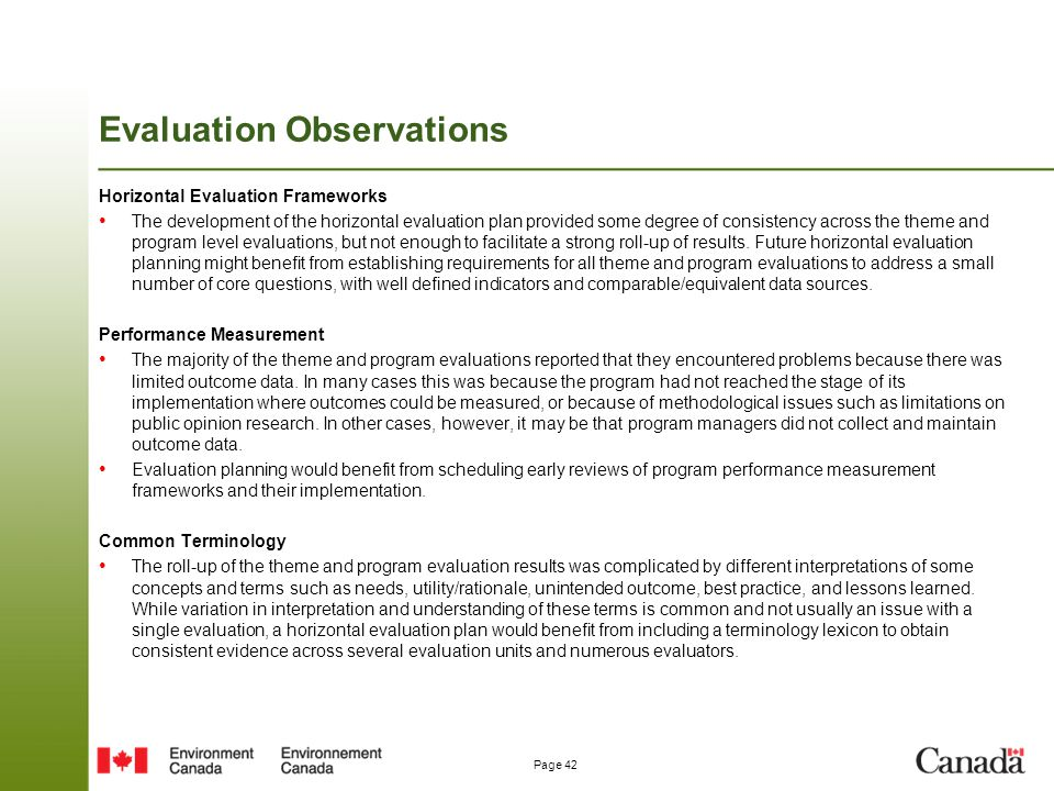 Evaluation Observations